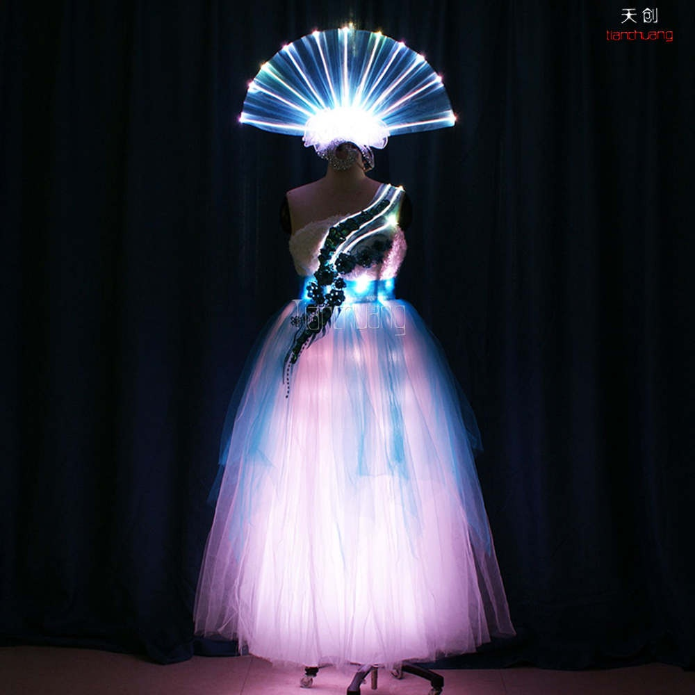 TC-174 Fiber Optic dance costumes led dance dress