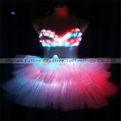 TC-0214 Full color LED bikini guaze dress performance costume
