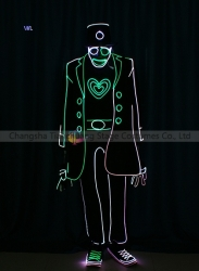 TC-0194 full color LED fiber optic tron dance jumpsuit