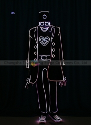 TC-0195 full color LED fiber optic tron dance jumpsuit