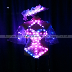 TC-0213 Full color LED bikini gauze  dress with headgear performance costume