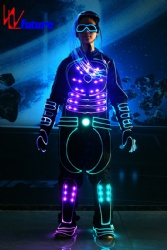 WL-0252 remote control programmable Fiber Optic & LED Tron Costume Luminous Clothing Team Tron Dance Costume with LED Hair