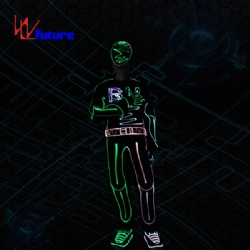 WL-0244 wireless control Fiber Optic Dance Costumes with Mask/shoe LED Tron Costume LED group Hip Hop dance costume