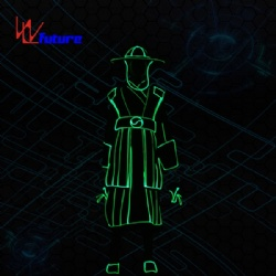 WL-0237  Wireless remote control Fiber Optic Light Chinese Traditional Long Gown Dance Costumes with Helmet led light Stage Costumes