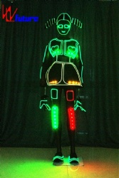 WL-0236 wireless control LED girls dresses with Helmet & braid LED Dance Costumes Performance wear