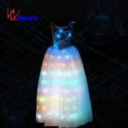 WL-049 remote control programmable Optic Fiber & LED Princess Party Long Dress LED light up Dance Costumes wedding dress girls dresses